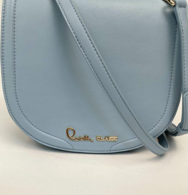 Сумка Cavalli Class небольшая женская светлого-голубого цвета логотип